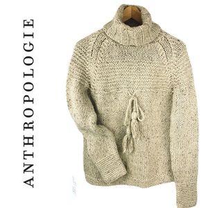 ANTHRO KENJI NATURAL Hand Knit Sweater w Tassels L